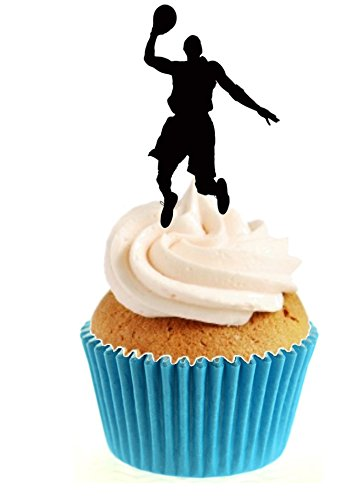 12 x Novelty Basketball Silhouette Edible Standup Wafer Paper Cake Toppers from Sprinkles and Toppers