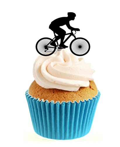 12 x Novelty Cycling Silhouette Edible Standup Wafer Paper Cake Toppers from Sprinkles and Toppers