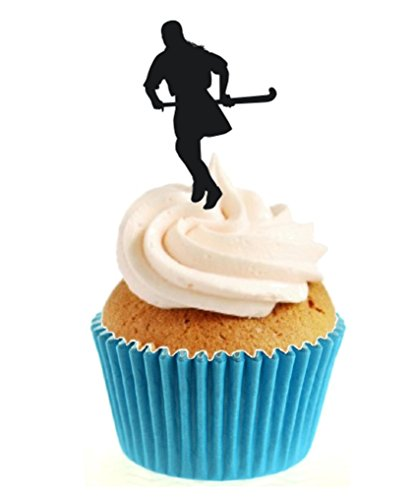 12 x Novelty Field Hockey Silhouette Edible Standup Wafer Paper Cake Toppers from Sprinkles and Toppers