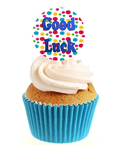 12 x Novelty Good Luck Circle (colourful dots) Edible Standup Wafer Paper Cake Toppers from Sprinkles and Toppers