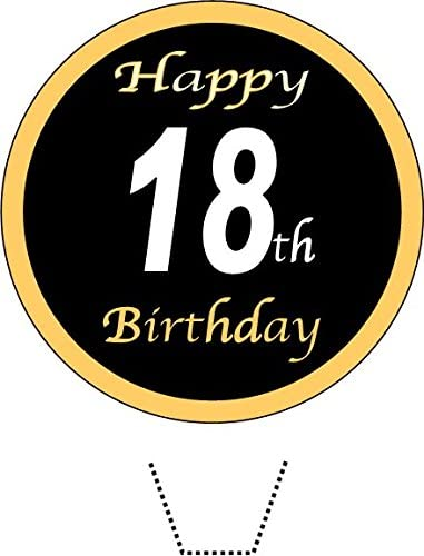 12 x Novelty Happy 18th Birthday (black/gold) Edible Standup Wafer Paper Cake Toppers from Sprinkles and Toppers