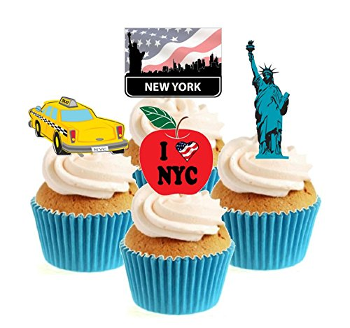 12 x Novelty I Love New York Mix Edible Standup Wafer Paper Cake Toppers from Sprinkles and Toppers
