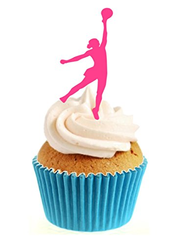12 x Novelty Pink Netballer / Netball Silhouette Edible Standup Wafer Paper Cake Toppers from Sprinkles and Toppers
