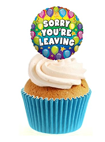 12 x Novelty Sorry You're Leaving Balloon Edible Standup Wafer Paper Cake Toppers from Sprinkles and Toppers