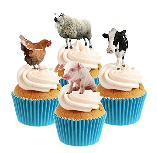 Farm Animals Collection 12 Edible Stand Up wafer paper cake toppers birthday - UNCUT from Sprinkles and Toppers