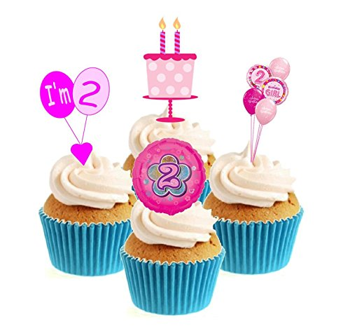Novelty 2nd Birthday Pink Mix 12 Edible Stand Up wafer paper cake toppers birthday from Sprinkles and Toppers
