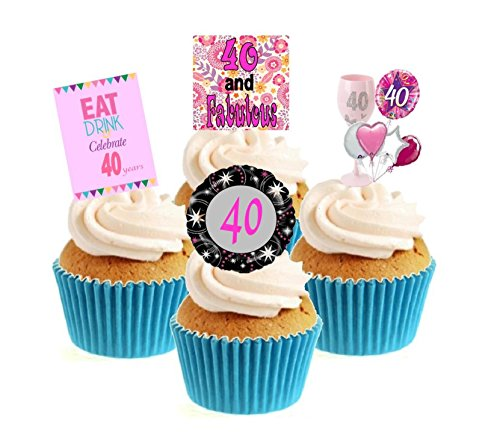 Novelty 40th Birthday Pink Mix 12 Edible Stand Up wafer paper cake toppers birthday from Sprinkles and Toppers