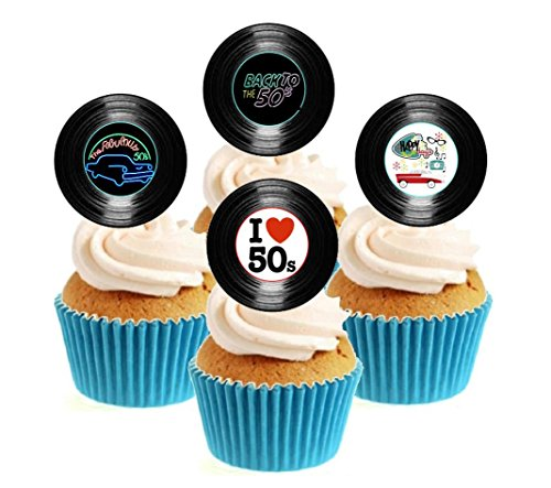 Novelty 50's Party Vinyl Collection 12 Edible Stand Up wafer paper cake toppers birthday from Sprinkles and Toppers