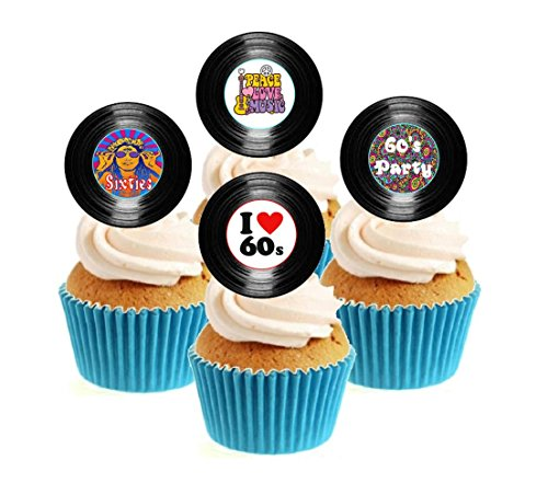 Novelty 60's Party Vinyl Collection 12 Edible Stand Up wafer paper cake toppers birthday from Sprinkles and Toppers