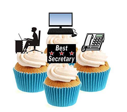 Novelty Best Secretary Mix 12 Edible Stand Up wafer paper cake toppers birthday from Sprinkles and Toppers