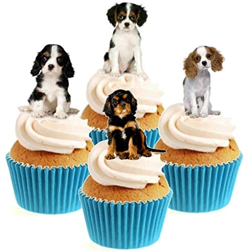 Novelty Cavalier King Charles Spaniel Puppy Mix 12 Edible Stand Up wafer paper cake toppers birthday from Sprinkles and Toppers