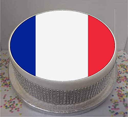 "Novelty French Flag 7.5"" edible icing cake topper (please leave personalisation as Gift Message) from Sprinkles and Toppers"
