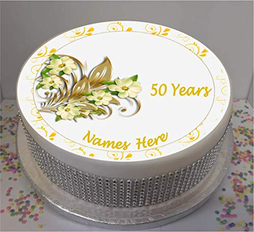 "Novelty Personalised 50yr Golden Wedding Anniversary flowers 7.5"" edible icing cake topper (please leave personalisation as Gift Message) from Sprinkles and Toppers"
