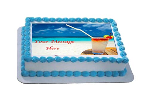 Novelty Personalised 'Beach & Cocktail' Scene A4 Edible Icing Cake Topper birthday party (please leave personalisation as Gift Message) from Sprinkles and Toppers