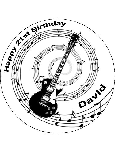 "Novelty Personalised Black Electric Guitar with Music Notes 7.5"" Edible Wafer Paper Cake Topper (please leave personalisation as Gift Message) from Sprinkles and Toppers"