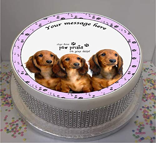"Novelty Personalised Dachshund Puppies 7.5"" edible icing cake topper (please leave personalisation as Gift Message) from Sprinkles and Toppers"