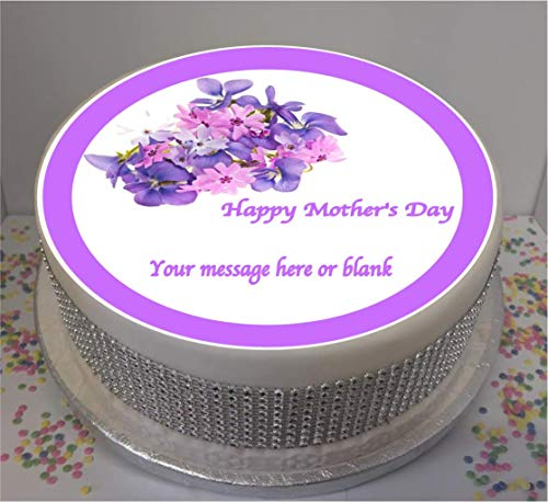 "Novelty Personalised Mother's Day Purple Flowers 7.5"" edible icing cake topper (please leave personalisation as Gift Message) from Sprinkles and Toppers"