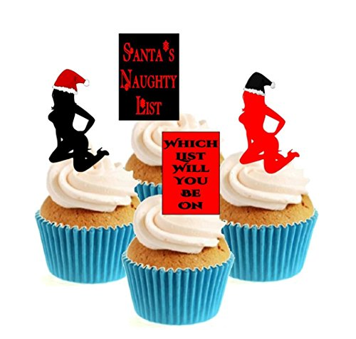 Novelty Santa's Naughty List Collection 12 Edible Stand Up wafer paper cake toppers birthday - UNCUT from Sprinkles and Toppers