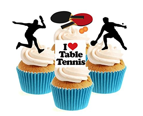 Novelty Table Tennis Mix 12 Edible Stand Up wafer paper cake toppers party from Sprinkles and Toppers