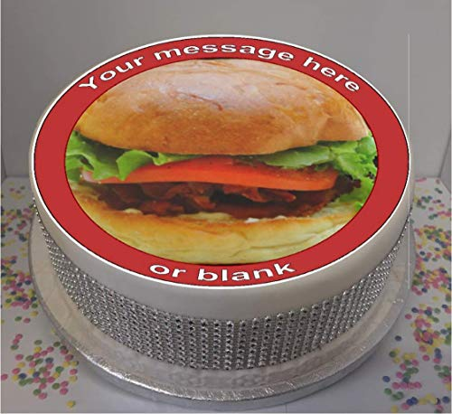 "Personalised Fully Loaded Burger 7.5"" Icing Cake Topper (please leave personalisation as Gift Message) from Sprinkles and Toppers"