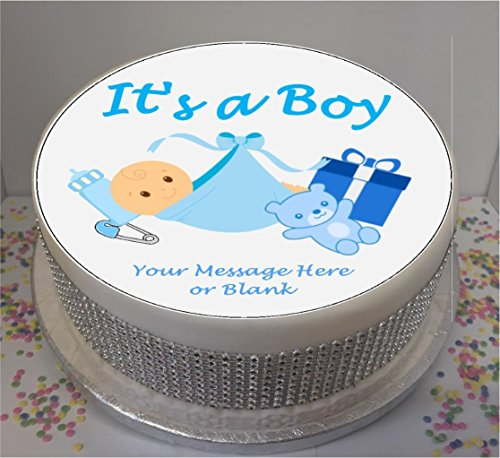 "Personalised It's A Boy 7.5"" edible icing cake topper (please leave personalisation as Gift Message) from Sprinkles and Toppers"