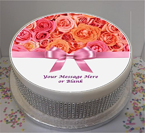 "Personalised Pink & Peach Roses with Bow 7.5"" edible icing cake topper (please leave personalisation as Gift Message) from Sprinkles and Toppers"