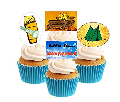 WOW!! Novelty Camping Holiday Mix 12 Edible Stand Up wafer paper cake toppers birthday from Sprinkles and Toppers