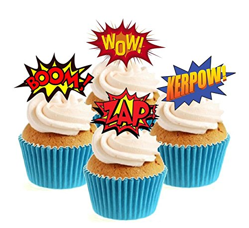 WOW Superhero Collection 12 Edible Stand Up wafer paper cake toppers birthday - UNCUT from Sprinkles and Toppers