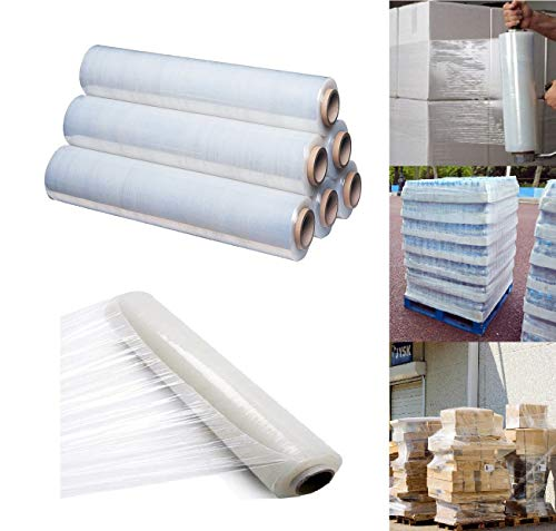 400mm X 250 meter Rolls Clear Pallet Stretch Shrink Wrap Parcel Packing Cling Film Pack of 6 from St@llion