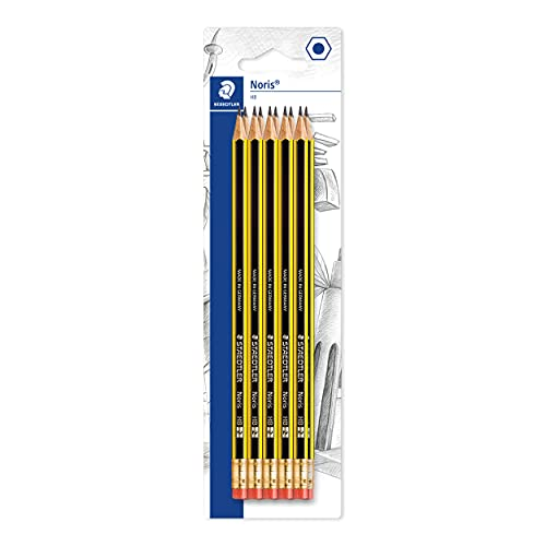 STAEDTLER 122-2 BK10 Noris HB Pencil with Eraser Tip, Double Stacked, Pack of 10 from STAEDTLER