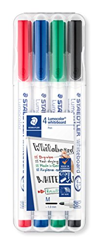 Staedtler 301 Lumocolour Dry Wipe/Whiteboard Pen - Assorted Colours, Pack of 4 from STAEDTLER
