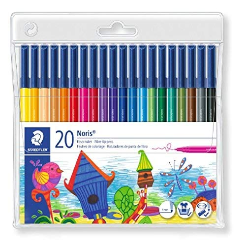 Staedtler Noris Club 326 WP20 Fibre Tip Pen in Wallet, Assorted Colours, Pack of 20 from STAEDTLER