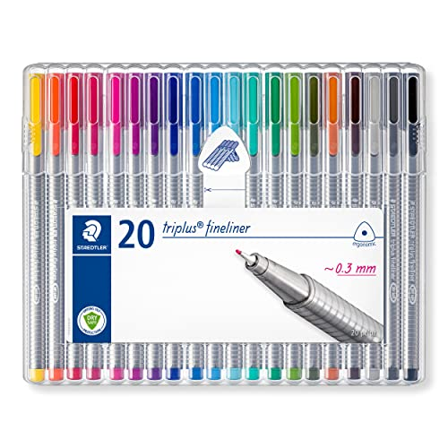 Staedtler 334 Triplus Fineliner Superfine Point Pens, 0.3 mm, Assorted Colours, Pack of 20 from STAEDTLER