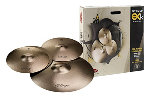 Stagg EXK SET B8 Bronze Cymbal Set with 14-Inch Hi-Hats, 16-Inch Crash, 20-Inch Ride and Cymbal Bag from Stagg