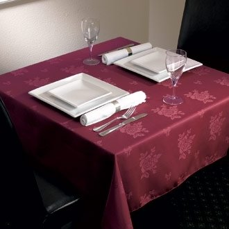 Stalwart CE501 Roslin Woven Tablecloth, Polyester, 1371 mm x 1778 mm, Rose Burgundy from Stalwart