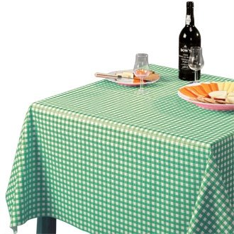 "Stalwart E663 Wipe Clean Tablecloth, 54"" x 90"", Green Check from Stalwart"