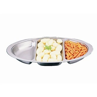 "Stalwart P246 Banqueting Dish-Three Division, Stainless Steel, Oval, 20"" Diameter from Stalwart"