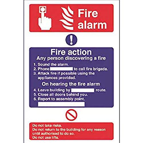 Fire Alarm/Fire Action Self-Adhesive Sticker Health And Safety Signs 300X200mm from Stalwart