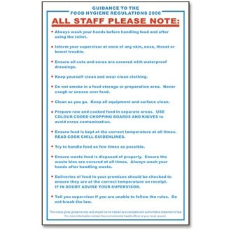 Stalwart L951 Food Safety Act 1995 Guidance Sign from Stalwart