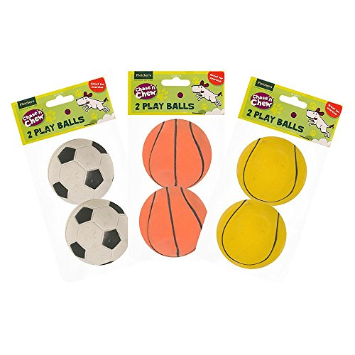 Fletchers Q64073 2 Pack Pet Dog Rubber Play Exercise Sport Balls (each ball 6cm x 6cm x 6cm) from Fletchers