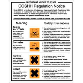 Stalwart W396 COSSH Regulations Sign Rigid PVC, 350 mm x 720 mm from Stalwart
