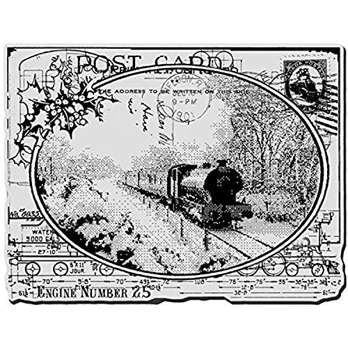 Stampendous Christmas Cling Rubber Stamp 4-inch x 6-inch Sheet-Train Postcard from Stampendous
