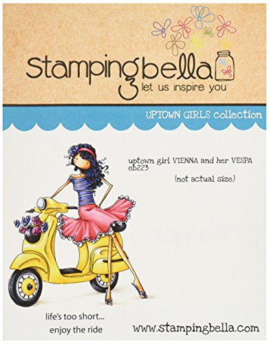 Stamping Bella Rubber Cling Stamp 6.5-inch x 4.5-inch, Uptown Girl Vienna and Her Vespa from Stamping Bella
