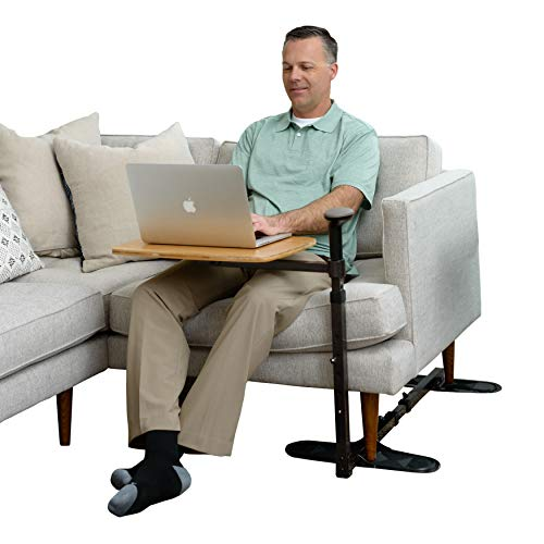 Stander Omni Tray Table, Adjustable Bamboo Swivel TV and Laptop Table with Ergonomic Stand Assist Mobility Handle, Independent Living Aid from Stander