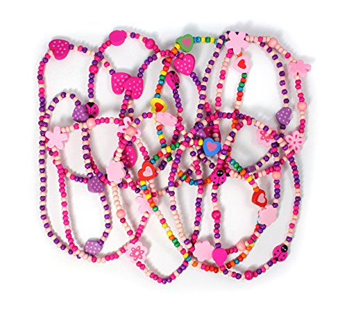 Stands Out, Supplying Outstanding Gifts 12 Colourful Wooden Jewellery Girls Necklaces Christmas and Birthday Party Bag Stocking Filler Loot from Stands Out, Supplying Outstanding Gifts