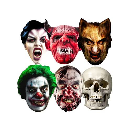 Star Cutouts SMP69 Clown/Skull/Vampire/Werewolf/Zombie and Devil Halloween Party Mask, One Size from Star Cutouts Ltd