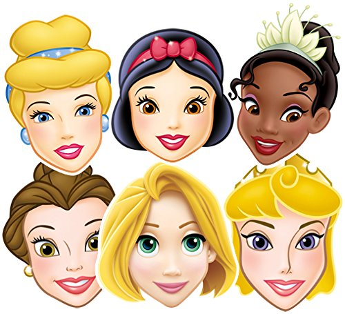 Star Cutouts SMP50 Snow White/Cinderella/Belle/Tiana/Rapunzel/Aurora Disney Princesses Party Mask, One Size from Star Cutouts Ltd