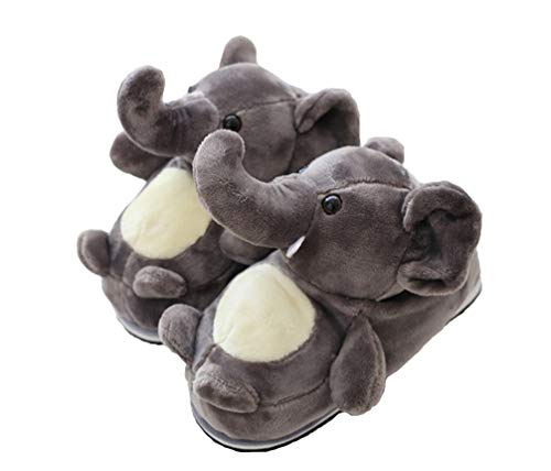 Cute Animal Slippers Elephant Dinosaur Slippers Warm Non-Slip Soft Bottom (Grey) from Star fire