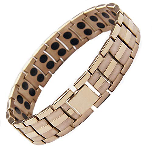 StarGems® Magnetic Pure Titanium Bracelet Bangle Mens Womens Arthritis Pain Relief Therapy Healing HIGH Strength 3,000 Gauss Magnets Double Row Rose Gold Oyster Design Ladies + Gift Pouch from StarGems