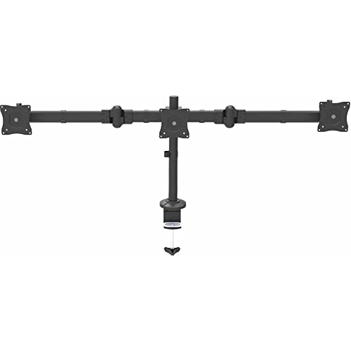 "StarTech.com Desk Mount Triple Monitor Arm - Articulating - Adjustable - Supports Monitors 13"" to 24"" - Triple Screen Monitor Mount - Desk & Grommet Clamp - Black (ARMTRIO) from StarTech.com"
